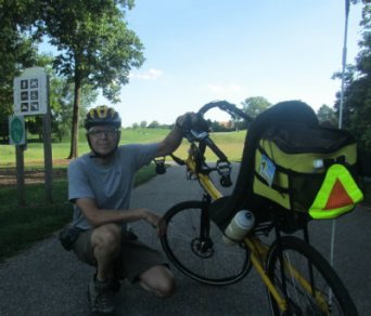 Jim-Schmid-with-Bacchetta-Giro-recumbent-at-start-of-trail-Newtown-Little-Miami-Scenic-Trail-OH-2015-07-31-08-02