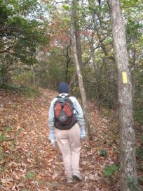 Sandra-Schmid-hiking-on-Approach-Trail-to-Springer-Mtn-10-23-2008