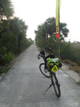 Jim-Schmid's-Bacchetta-Giro-recumbent-at-east-end-of-McQueens-Tybee-Island-Rail-Trail-GA-02-20-2016