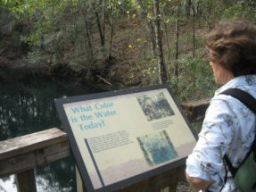 Sandra-Schmid-reading-intrepretive-sign-at-Leon-Sinks-Geological-Area-Tallahassee-FL-01-04-2009