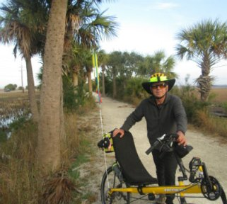 Jim-Schmid-with-Bacchetta-Giro-recumbent-on-McQueens-Tybee-Island-Rail-Trail-GA-02-20-2016