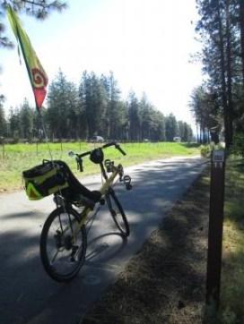 Jim-Schmid's-Bacchetta-Giro-recumbent-at-Milepost-11-on-Centennial-Trail-Coeur-d'alene-ID-5-11-2016