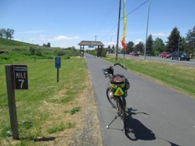 Jim-Schmid's-Bacchetta-Giro-recumbent-MIlepost-7-on-Chipman-Trail-Moscow-ID-to-Pullman-WA-5-8-2016
