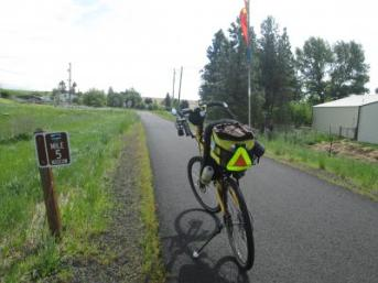 Jim-Schmid's-Bacchetta-Giro-recumbent-Milepost-5-on-Latah-Trail-Moscow-to-Troy-ID-5-9-2016