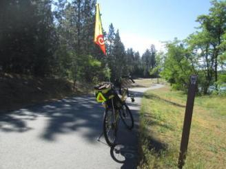 Jim-Schmid's-Bacchetta-Giro-recumbent-at-Milepost-14-on-Centennial-Trail-Coeur-d'alene-ID-5-11-2016