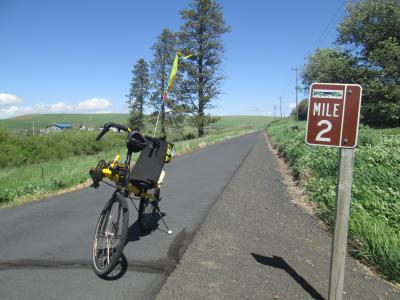 Jim-Schmid's-Bacchetta-Giro-recumbent-Milepost-2-on-Chipman-Trail-Moscow-ID-to-Pullman-WA-5-8-2016