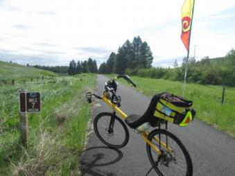 Jim-Schmid's-Bacchetta-Giro-recumbent-Milepost-7-on-Latah-Trail-Moscow-to-Troy-ID-5-9-2016