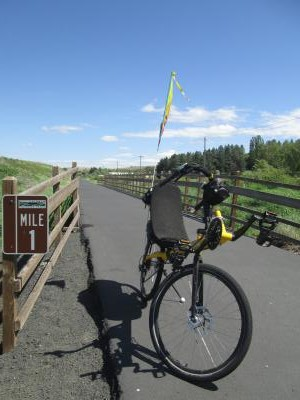 Jim-Schmid's-Bacchetta-Giro-recumbent-Milepost-1-on-Chipman-Trail-Moscow-ID-to-Pullman-WA-5-8-2016