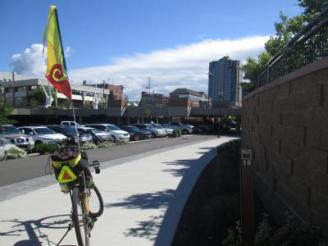 Jim-Schmid's-Bacchetta-Giro-recumbent-at-Milepost-16-on-Centennial-Trail-Coeur-d'alene-ID-5-11-2016
