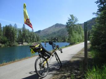 Jim-Schmid's-Bacchetta-Giro-recumbent-at-Milepost-35-Trail-of-the-Coeur-d'Alenes-ID-5-13-2016
