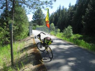 Jim-Schmid's-Bacchetta-Giro-recumbent-at-Milepost-41-Trail-of-the-Coeur-d'Alenes-ID-5-13-2016