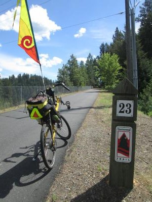 Jim-Schmid's-Bacchetta-Giro-recumbent-at-Milepost-23-on-Centennial-Trail-Coeur-d'alene-ID-5-11-2016