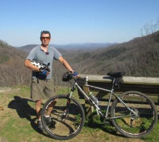Jim-Schmid-with-mtn-bike-on-Point-Lookout-Trail-Pisgah-NF-NC-03-18-2016