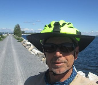 Jim-Schmid-on-causeway-Island-Line-Rail-Trail-VT-9-1-2016