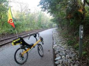Jim-Schmid's-Bacchetta-Giro-recumbent-at-MP-2-Heritage-Rail-Trail-PA-10-5-2016