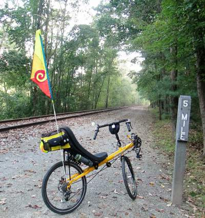 Jim-Schmid's-Bacchetta-Giro-recumbent-at-MP-5-Heritage-Rail-Trail-PA-10-5-2016