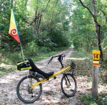 Jim-Schmid's-Bacchetta-Giro-recumbent-at-MP-14-Torrey-C-Brown-Rail-Trail-MD-10-4-2016