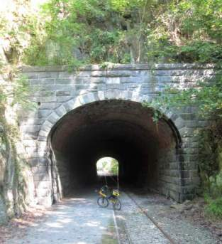 Jim-Schmid's-Bacchetta-Giro-recumbent-at-Howard-Tunnel-Heritage-Rail-Trail-PA-10-5-2016