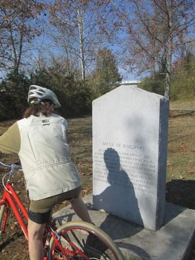 Sandra-Schmid-reading-monument-on-Kingsport-Greenbelt-TN-11-2-2016