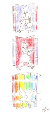 """Children"": An ordinary rotating door is a mundane thing for adults, but for children it is entertainment"