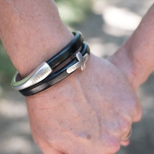 Men's Solid Bar CONNECTED! Bracelet (Pictured with our Connected! cross bracelet - SOLD SEPARATELY)