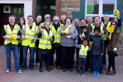 Dr Philippa Whitford with team gathered for photograph in Prestwick