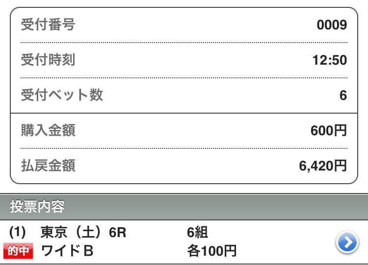2018年5月12日東京6R払い戻し結果