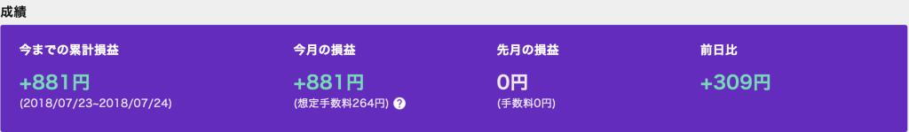 クオレア自動売買bot成績表7月24日