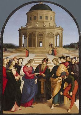 Raffaello, Spozalizio (The Engagement of Virgin Mary), 1504. Oil on round-headed panel, 170 x 117 cm. Pinacoteca di Brera, Milan.