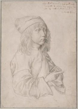 13세 때의 자화상(Self-portrait), silverpoint drawing by the thirteen-year-old Dürer, 1484.