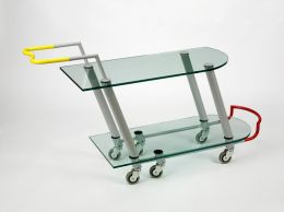 Javier Mariscal, Hilton - Serving trolley, Barcelona, Spain, 1981, Painted metal, shaped crystal glass, industrial casters. Victoria & Albert Museum collection.