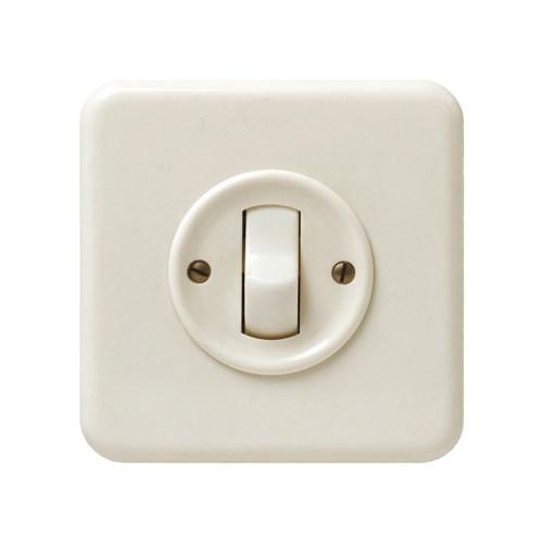 """펠러 (Feller AG) 사가 개발해 보편화된 텀블러 전기 스위치( Tumbler Switch) , 1948년 경. Museum für Gestaltung Zürich, Design Collection. Photo: FX. Jaggy & U. Romito © ZHdK. 스위스 국민이라면 누구나 사용하는 이 전기 스위치는 스위스인에게 빛을 가져다준 공인으로 여겨지는 국민디자인용품으로 온/오프 감각이 매우 부드러운 것이 특징이다. 누가 디자인했는지 알려져 있지 않지만 1949년 굿 디자인 전시회에서 이 제품을 본 평론가 막스 빌(Max Bill)은 이 스위치를가리며서 """"모든 전기 스위치가 본받을 만한 스위치 디자인의 결정판""""이라고 평가했다."""