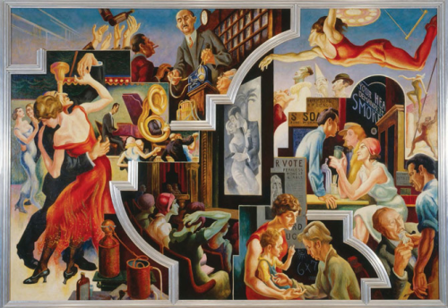 "Thomas Hart Benton (American, 1889-1975) ""City Activities with Dance Hall"" from 『America Today』 1930-31. Mural cycle consisting of ten panels. Egg tempera with oil glazing over permalba white on a gesso ground on linen mounted to wood panels with a honeycomb interior. The Metropolitan Museum of Art, Gift of AXA Equitable, 2012."