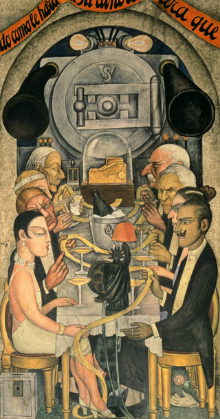 "디에고 리베라 벽화 시리즈 중 ""월 스트리트 잔치). Diego Rivera 『Wall Street Banquet (』 (1923-8) fresco, Ministry of Education, Mexico City."