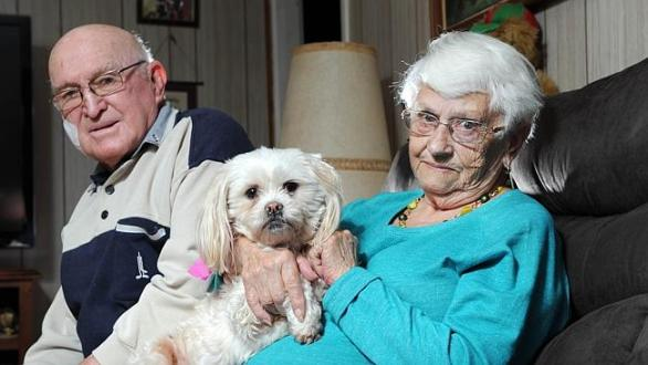 นาย Doug และนาง Shirley Bray กับสุนัข Bambi (ภาพจาก News Corp Australia)