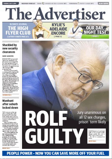 นสพ. The Advertiser เป็นอีกหนึ่งในหนังสือพิมพ์ในออสเตรเลียที่เสนอข่าวการตัดสินคดีนาย Rolf Harris