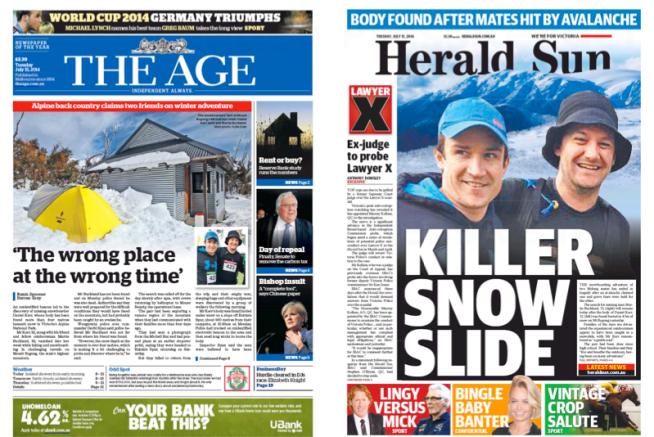 นสพ. The Age และคู่แข่งนสพ. Herald Sun ฉบับ 15 ก.ค. 2014 เสนอข่าวการเสียชีวิตของนาย Daniel Kerr