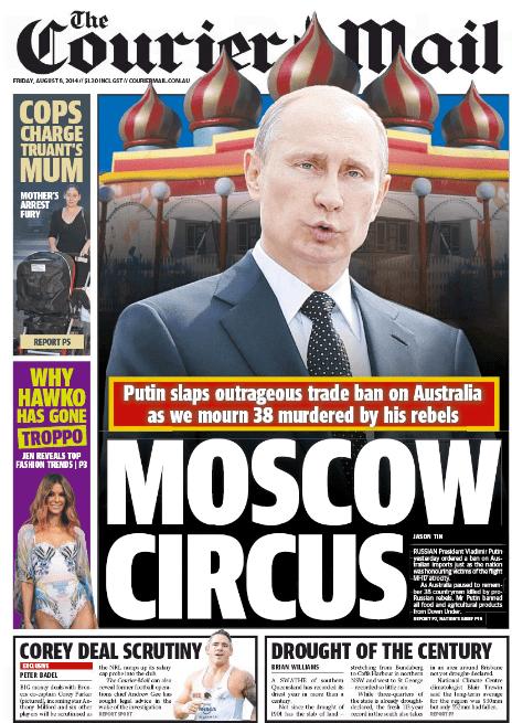 นสพ. the Courier Mail ฉบับ 8 ส.ค. 2014 เสนอข่าวเหตุ MH17 ส่งผลรัสเซียสั่งแบนสินค้าจากออสเตรเลีย