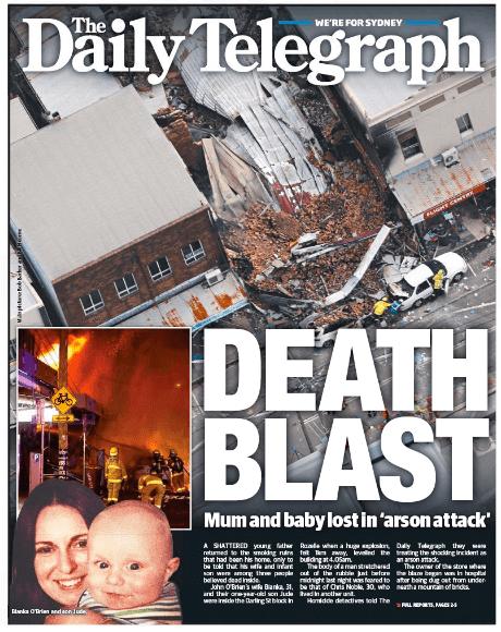 นสพ. the Telegraph ฉบับ 5 ก.ย. 2014 เสนอข่าวระเบิดและเพลิงไหม้ที่ย่าน Rozelle