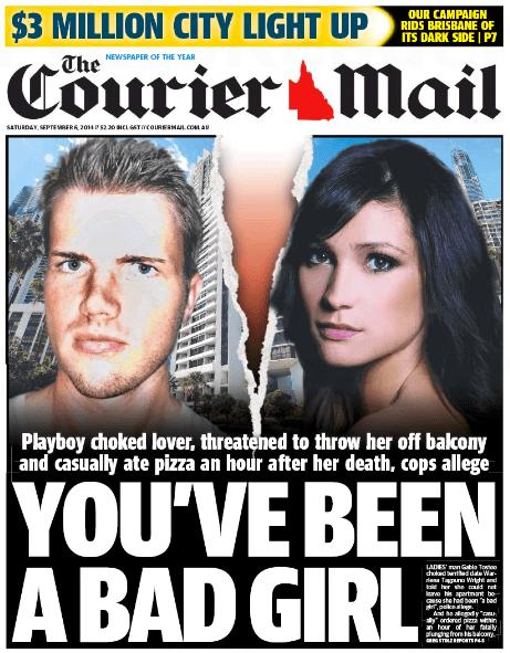 นสพ. the Courier Mail ฉบับวันที่ 6 กันยายน เสนอข่าวตำรวจเผยบันทึกมือถือในช่วงนาทีสุดท้ายก่อนหญิงสาวตกตึกเสียชีวิต