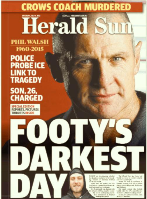นสพ. Herald Sun ฉบับ 4 ก.ค. 2015 เป็นหนึ่งในนสพ.หลายฉบับที่เกาะติดเหตุการณ์นาย Phil Walsh โคช AFL โดยบุตรชายเป็นวันที่สอง