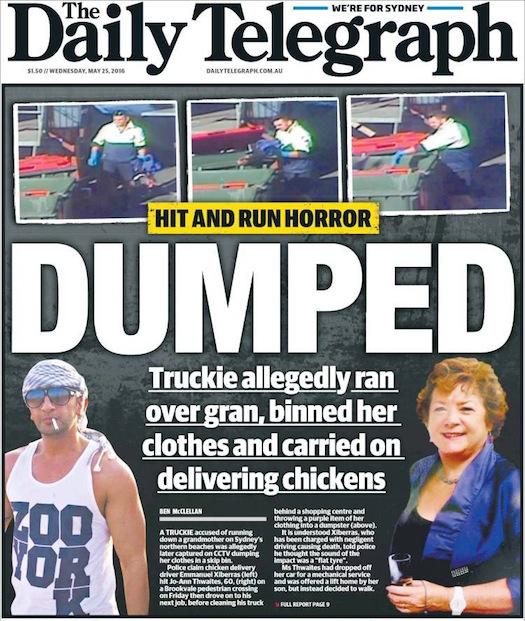 นสพ. the Telegraph ฉบับ 25 พ.ค. 2016 เสนอข่าวพนักงานขับรถบรรทุกส่งไก่สด (คนซ้าย) ขับรถชนหญิงชรา (คนขวา) แล้วจัดการเอาเสื้อแจ็คเก็ตสีม่วงทิ้งถังขยะ-ล้างรถก่อนขับรถส่งไก่ต่ออย่างหน้าตาเฉย