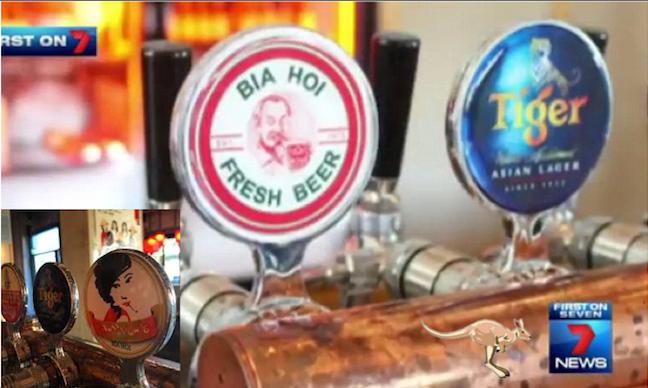 ที่ปั๊มเบียร์ของร้าน Uncle Ho พอเปลี่ยนชื่อเป็น Aunty Oh's Bia Hoi โลโก้เบียร์ Bia Hoi (ภาพใหญ่) ได้ถูกโลโก้ Aunty Oh's Bia Hoi (ภาพเล็ก) สวมทับแทน ถ่ายจุดเดียวกันแต่เป็นด้านหน้ากับด้านหลัง : ภาพจากทีวี 7 News