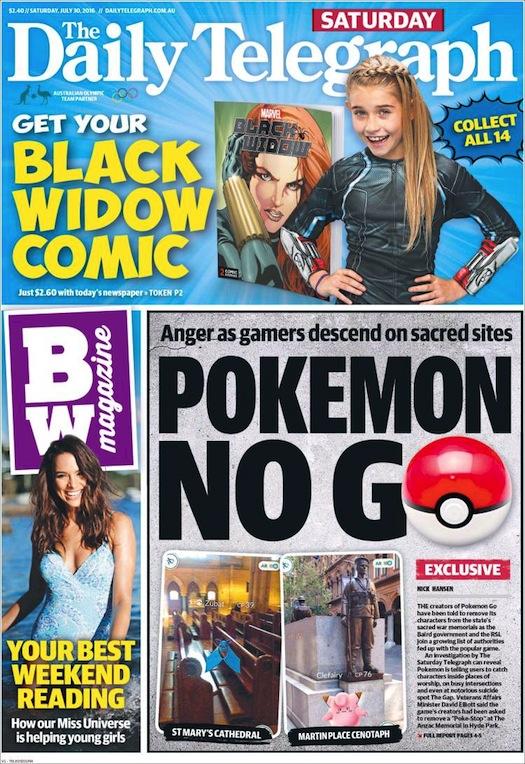 """นสพ. the Telegraph ฉบับ 30 ก.ค. 2016 เสนอพาดหัวข่าว """"Pokemon โน Go"""" หลังเกิดอาการฉุนที่ผู้เล่นเกมเข้ามาใช้สถานที่สำหรับไว้อาลัยและเคารพบูชา"""