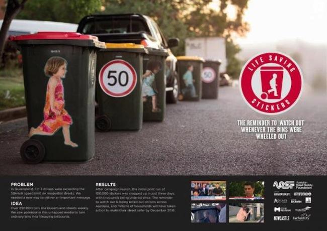 โฆษณาส่งเสริมการติดสติ๊กเกอร์ข้างถังขยะของ Road Safety : ภาพจาก coloribus.com for ARSF