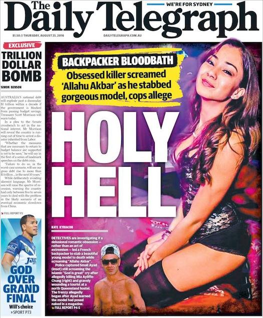 นสพ. the Telegraph ฉบับ 25 ส.ค. 2016 พาดหัวข่าว Holy Hell (คำสบถ) ถึงเหตุการณ์แบคแพคเกอร์หนุ่มชาวฝรั่งเศสสังหารแบคแพคเกอร์สาวชาวอังกฤษ