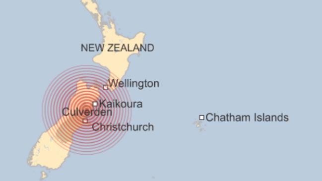 แผนที่จุดศูนย์กลางของแผ่นดินไหว : ภาพจากสำนักข่าว BBC