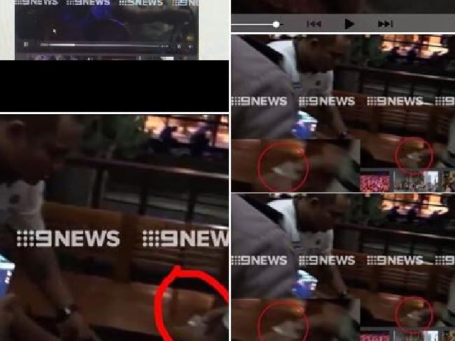 บันทึกภาพที่ทีวี 9 ได้มา ซึ่งนาย Ty Airey อ้างว่าสารสีขาวอยู่ในมือของเจ้าหน้าที่รักษาความปลอดภัย ก่อนที่จะเปิดกระเป๋า : ภาพจาก News Corp