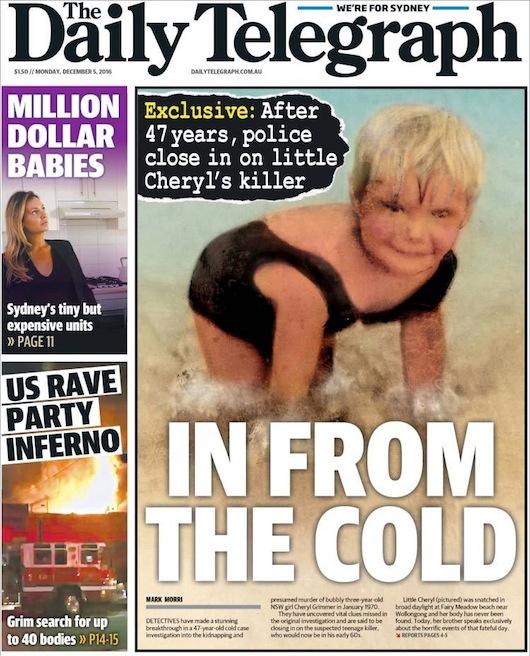 นสพ. The Telegraph ฉบับ 5 ธ.ค. 2016 เสนอข่าวคดีเย็น ลักพาและสังหารด.ญ. Cheryl เมื่อ 47 ปีก่อนตำรวจเข้าใกล้ตัวผู้สังหารแล้ว