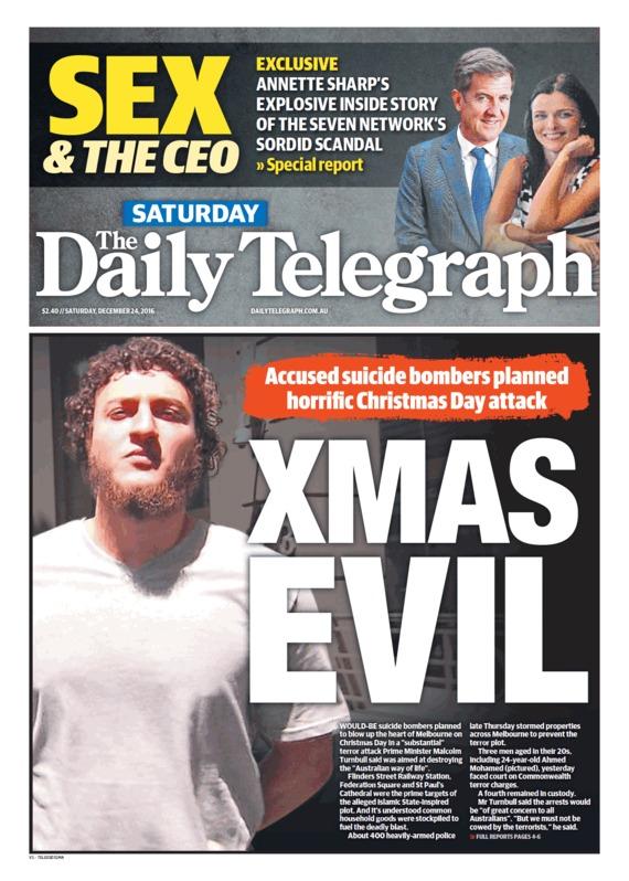 """นสพ. The Telegraph ฉบับ 24 ธ.ค. 2016 พาดหัวข่าว """"ปีศาจคริสต์มาส"""" ผู้ถูกกล่าวหาระเบิดพลีชีพ วางแผนก่อการร้ายในวันคริสต์มาส"""
